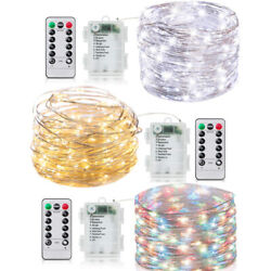 15 33Ft LED Battery Micro Rice Wire Copper Remoter Fairy String Lights Party $9.99