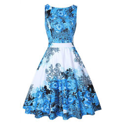 Women#x27;s Sleeveless Vintage 50s Floral Summer Dresses Party Cocktail Swing Dress $13.99