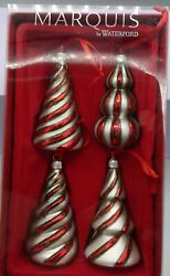 Marquis by Waterford Candy Cane Trees Ornament Set of 4 Mint $25.00