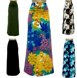 Maxi Skirt Spandex Comfy Floral Designers Prints S XL**Made in USA**Falda Larga* $14.99