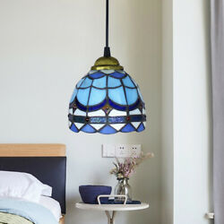 Stained Glass Bowl Pendant Dining Room Ceiling Lamp Modern Hanging Light Fixture $34.21