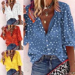 Women Short Sleeve V Neck T Shirt Floral Print Button Blouse Casual Loose Tops $16.39