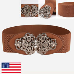 Women Wide Elastic Waistband Party For Dress Belt Buckle Stretch Belt $8.99