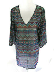 Bar III Beach Bathing Cover Up Dress Tunic Summer Aztec Swim Women#x27;s Size M New $29.69
