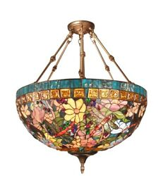 6 Light Bowl Pendant Dale Tiffany Chandelier Antique Brass Finish Stained Glass $1749.99