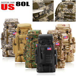 80L Large Outdoor Tactical Military Backpack Rucksack Travel Camping Hikinng Bag