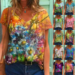 Summer Women Short Sleeve V Neck T Shirt Floral Printing Blouse Casual Loose Top $15.17