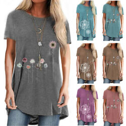 Women Short Sleeve Crew Neck Floral Print T Shirt Casual Loose Blouse Plus Size $15.37