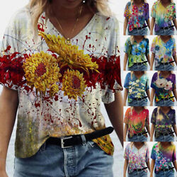Womens V Neck Short Sleeve T Shirt Casual Floral Printing Blouse Loose Comfy Top $15.91