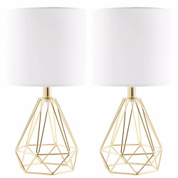 15#x27;#x27; Gold Table Lamps Drum Shades and Open Cage Metal Bases Set of 2 $46.75