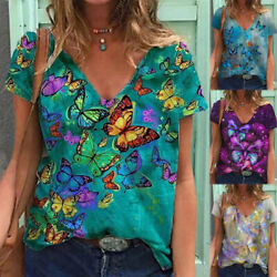 Women Short Sleeve V Neck T Shirt Casual Floral Printing Loose Summer Blouse $14.85