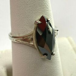 Bell Trading Post Vintage Sterling Silver Marquis Hematite Ring Sz 5.75 031PIE $19.99