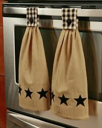 Barn Star Hanging Kitchen Towels Set of 2 Black $16.98
