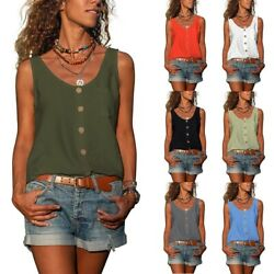 Summer Women Casual Sleeveless Tank Top Solid V Neck T Shirt Loose Blouse Tunic $14.44