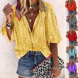 Summer Women Casual Short Sleeve T Shirt V Neck Tops Floral Loose Blouse Tunic $14.60