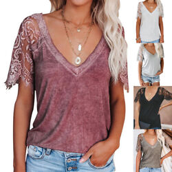 Summer Womens Casual Solid Blouse Lace Short Sleeve V Neck T Shirt Loose Top Tee $16.39