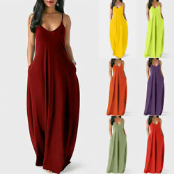 Women Summer V Neck Tank Long Dress Casual Solid Pocket Loose Party Maxi Dress $17.42