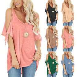 Summer Women Solid Lacing Casual T Shirt Cold Shoulder V Neck Blouse Loose Top