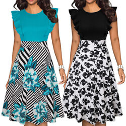 Women Sleeveless Ruffle Floral Summer Casual Party Cocktail Work Elegant Dresses $16.99
