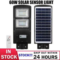 140000LM 60W Commercial LED Solar Street Light Motion Sensor Dusk to DawnRemote
