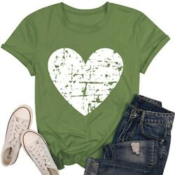 Womens Heart Short Sleeve T Shirt Ladies Summer Casual Loose Tunic Tops Blouses $10.99