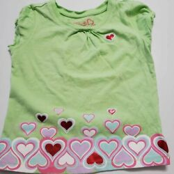 Green Dog Girls T Shirt Red White Hearts Scoop Neck Cap Sleeve Cotton Tee 4T $7.99
