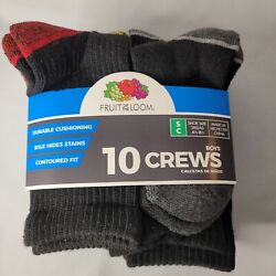 Fruit of the Loom Boys Socks 10 pairs Crew Style Shoe Size Small 4 1 2 8 1 2 NEW $10.99