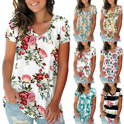 Womens Summer Casual V Neck Short Sleeve T Shirt Loose Floral Print Blouse Tops $15.29