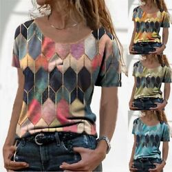 Summer Women Crew Neck Casual T Shirt Floral Top Short Sleeve Loose Blouse Tunic $15.29