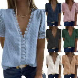 Womens Summer V Neck Lace Solid T Shirt Short Sleeve Beach Casual Tops Blouse US $19.11