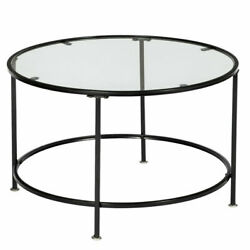 Home 2 Layers Round Iron Coffee Table Room Tempered Glass Countertops Black US $78.19