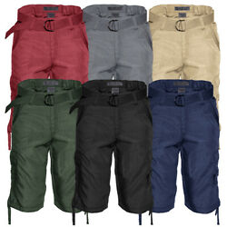 Mens Cotton Cargo Shorts Multi Pocket Lightweight Belted Casual Relaxed Fit $22.88