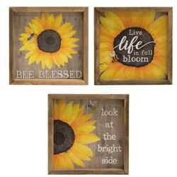 New Rustic Country SET 3 SUNFLOWER HONEY BEE SIGN Wall Hanging Picture Plaque 8quot; $29.99