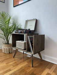 MCM Midcentury Modern Table For Record Player Solid Wood Records Storage Stand $185.00