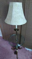 MCM Stiffel Floor Lamp With Glass Shelf And Metal Rim Three Footed Base53quot; Tall $89.77