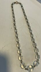Vintage Crystal Clear Faceted Glass Bead Rhinestone 16quot; Necklace $74.95