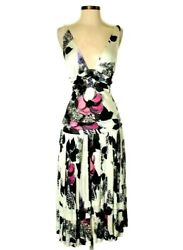 Roberto Cavalli Floral Cocktail Dress Sleeveless Midi Signed Multi 42 Eur Formal $225.00