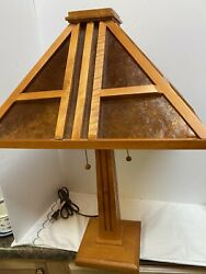 Mission Art Carts Lamp STYLE w Table Top Pine Wood Micah Shade $95.00