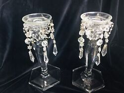 """Vintage Crystal Candlesticks With Glass Antique Prisms And Hang Glass 9x5"""" Pair $49.99"""
