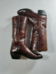 Lucchese womens calf and goat leather brown boots 7.5A $95.00