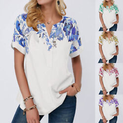 Summer Womens Casual Tunic Short SleeveT Shirt V Neck Tunic Floral Loose Blouse $14.28
