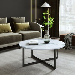 35quot; Round Coffee Table Living Room Sofa Side End Table Metal Leg amp; Wood Desktop $76.98