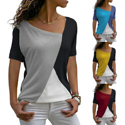 Womens Summer Casual Short Sleeve Crew Neck T Shirt Tee Splice Print Blouse Tops $15.57