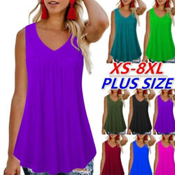 Womens Sleeveless T Shirt Crew Neck Summer Tank Top Solid Casual Loose Blouse $13.11