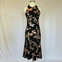 Badgley Mischka Women#x27;s Cocktail Dress Size 0 Black and Rose Gold Halter $209