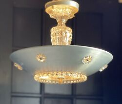 Art Deco aluminum Ceiling Chandelier antique vintage vtg candlewick light glass $438.00