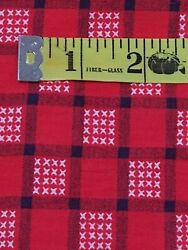 3 yds 100% cotton quilt fabric vintage material red bandana cross stitch look $26.98