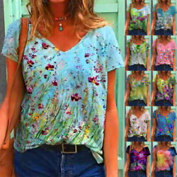 Summer Women Floral Printing Blouse Short Sleeve V Neck T Shirt Casual Loose Top $14.49