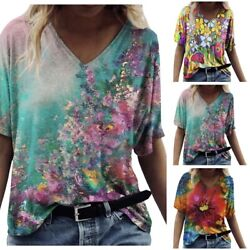 Summer Women Casual Short Sleeve T Shirt V Neck Floral Tops Loose Blouse Tunic $13.27