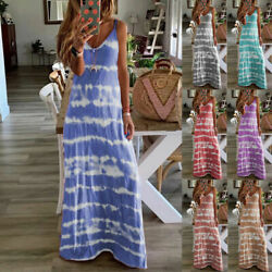 Women Summer Casual Long Maxi Dress Ladies Print Beach Sleeveless Sun Dresses $18.28